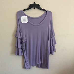 Isabel Maternity Lilac Ruffle Sleeve Knit Top
